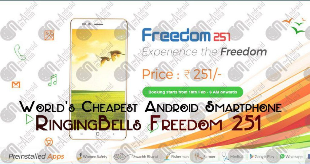 World's cheapest Android Smartphone Ringing Bell Freedom ...