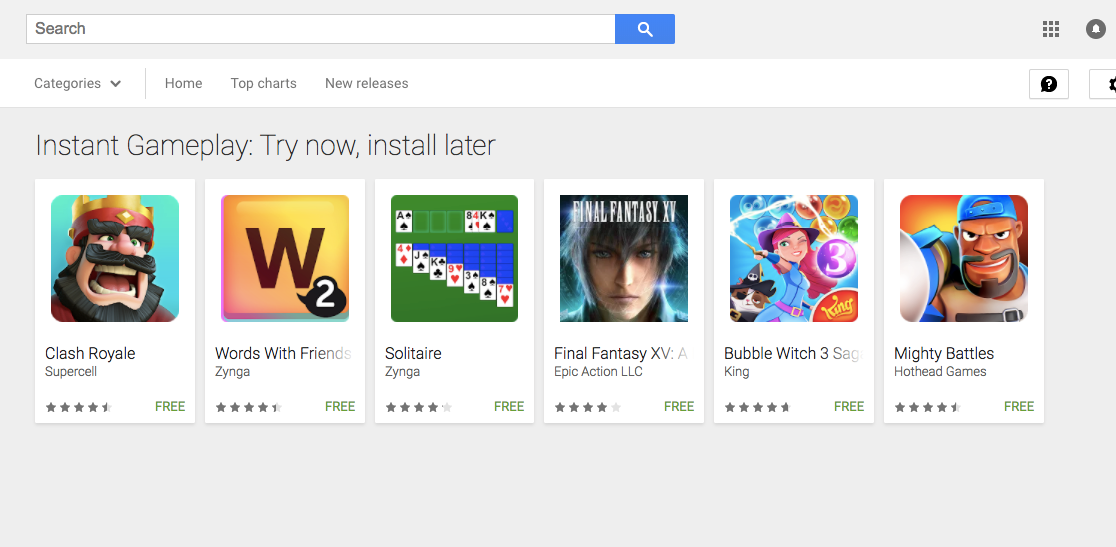 Google Instant Try Now Apps