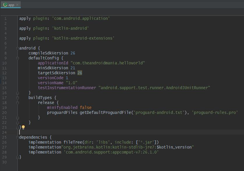 Android Kotlin Gradle App - The Android Mania