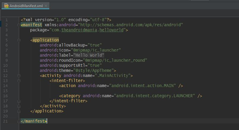 AndroidManifest.xml - The Android Mania