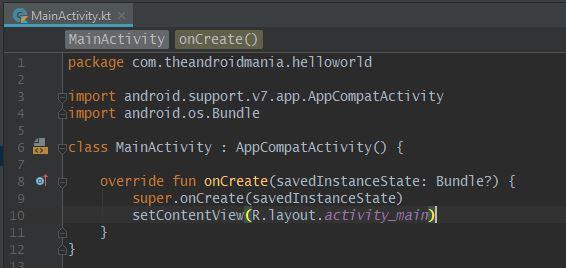 MainActivity.kt-fil - Android-manien